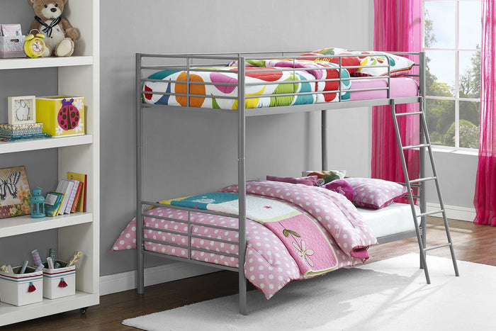 Dorel Home Convertible Single over Single Bunk Bed in Grey