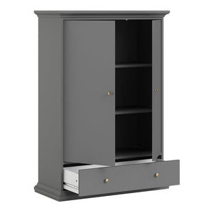 Furniture To Go Paris 2 Door Wardrobe with Drawer in Matt Grey (70175368IGIG)