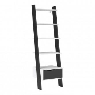 Furniture To Go Oslo Leaning Bookcase in White and Black (7047538549GM)