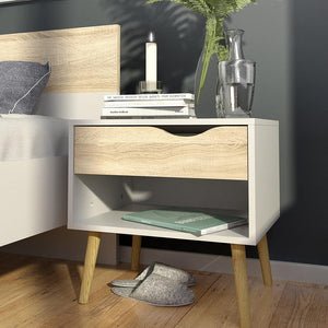 Furniture To Go Oslo Bedside Cabinet in White and Oak (7047539449AK)