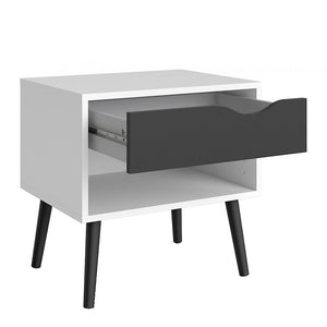 Furniture To Go Oslo Bedside Cabinet in White and Black (7047539449GM)