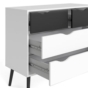 Furniture To Go Oslo 4-Drawer Chest in White and Black (7047539549GM)