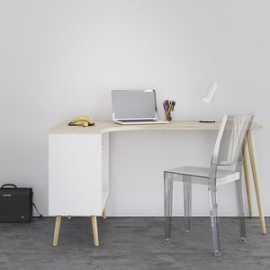 Furniture To Go Oslo Desk with Return in White and Oak (7047545049AK)