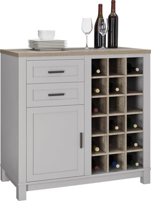 Dorel Home Carver Range Bar Cabinet in Weathered Oak and Grey