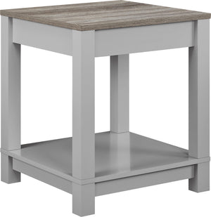 Dorel Home Carver Range End Table in Weathered Oak and Grey