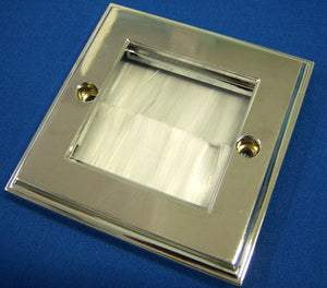 Polished Chrome Brush Wall Plate Single Gang with White Brushes