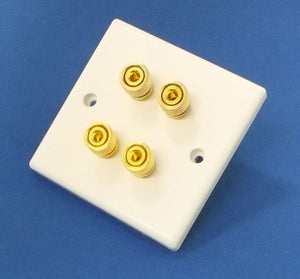 White Plastic Speaker Wall Plate with 4 Binding Posts