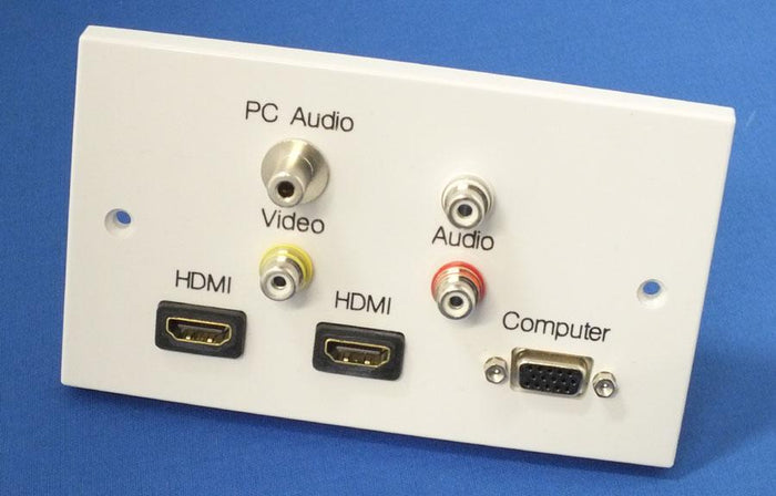 AV4-MA-2GW-Dual-HDMI-VGA Double Gang HDMI + Video + PC Wall Plate