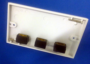 White Triple HDMI Wall Plate (AV4-MA-AV17843)