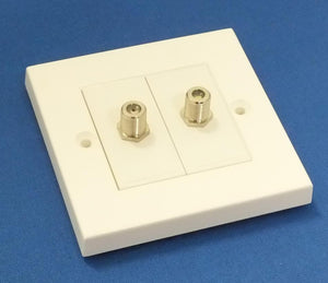 AV4EPTF-W - White Plastic Twin Satellite Wall Plate