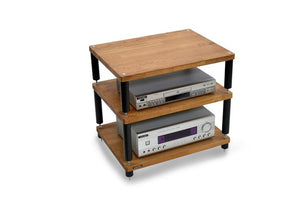 Apollo Storm 6 Dark Oak and Black 3 Shelf Hi-Fi Rack
