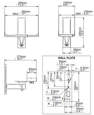 B-Tech BT77 Side Clamping Speaker Wall Brackets in Black or White