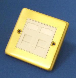 AV4-EP-RJ45W-2-BB Brushed Brass Network Wall Plate
