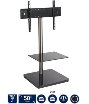 Cantabria BTF800 Black Square Based Cantilever TV Stand