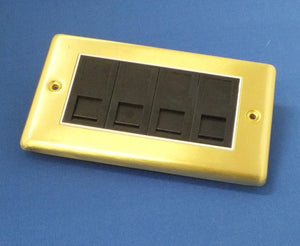 AV4-EP-RJ45B-4-BB Brushed Brass Quad Network CAT5e Wall Plate