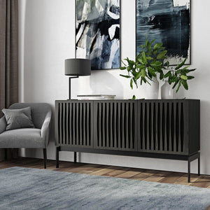 BDI Elements 8777 Tempo Charcoal Stained Ash Console Unit