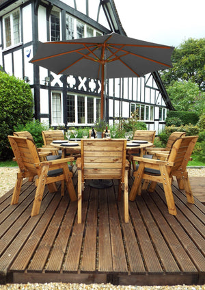 Charles Taylor Eight Seater Circular Table Set with Cushions and Parasol