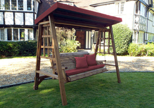 Charles Taylor Dorset Three Seater Swing in Burgundy (HB134B Set)