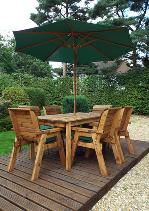 Charles Taylor Six Seater Traditional Table Set with Cushions and Parasol (HB15)