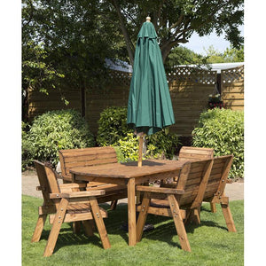 Charles Taylor Four Seater Circular Table Set with Cushions and Parasol (HB09)