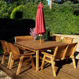 Charles Taylor Eight Seater Deluxe Table Set with Cushions and Parasol (HB44)