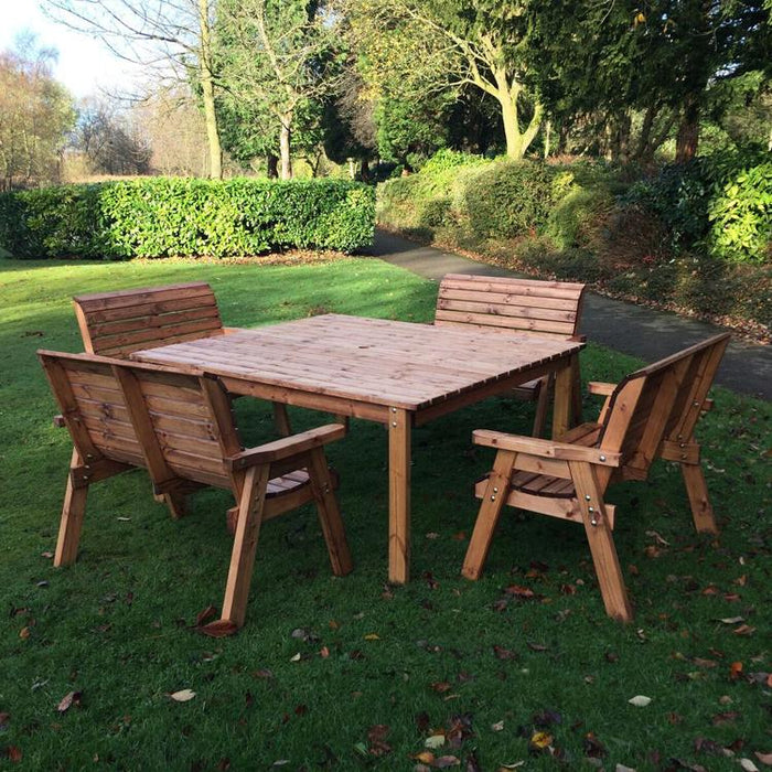 Charles Taylor Eight Seater Deluxe Square Table and Bench Set (HB81)