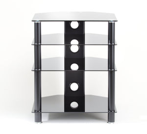 TTAP Classic 4 Shelf Black Glass Hi-Fi Stand
