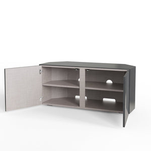 Frank Olsen High Gloss Grey 1100mm Corner TV Cabinet with LED Lighting and Wireless Phone Charging