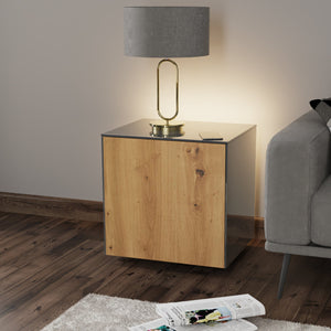 Frank Olsen IntelliLamp High Gloss Grey And Oak Lamp Table With LED Lighting and Wireless Phone Charging