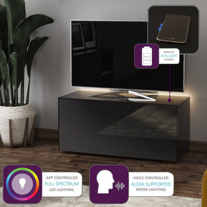 Frank Olsen High Gloss Black 1100mm TV Cabinet with LED Lighting and Wireless Phone Charging