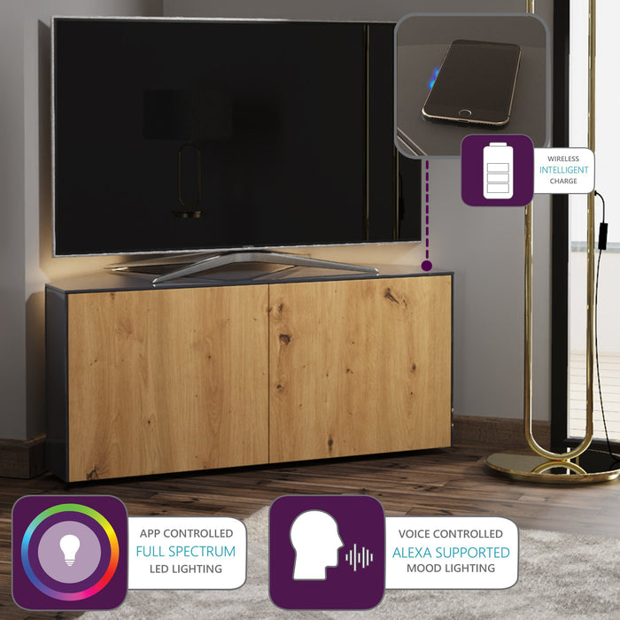 Frank Olsen High Gloss Grey and Oak 1100mm Corner TV Cabinet with LED Lighting and Wireless Phone Charging
