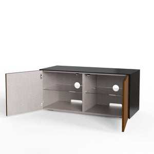 Frank Olsen High Gloss Black and Walnut 1100mm TV Cabinet with LED Lighting and Wireless Phone Charging