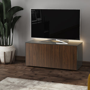 Frank Olsen High Gloss Grey and Walnut 1100mm TV Cabinet with LED Lighting and Wireless Phone Charging