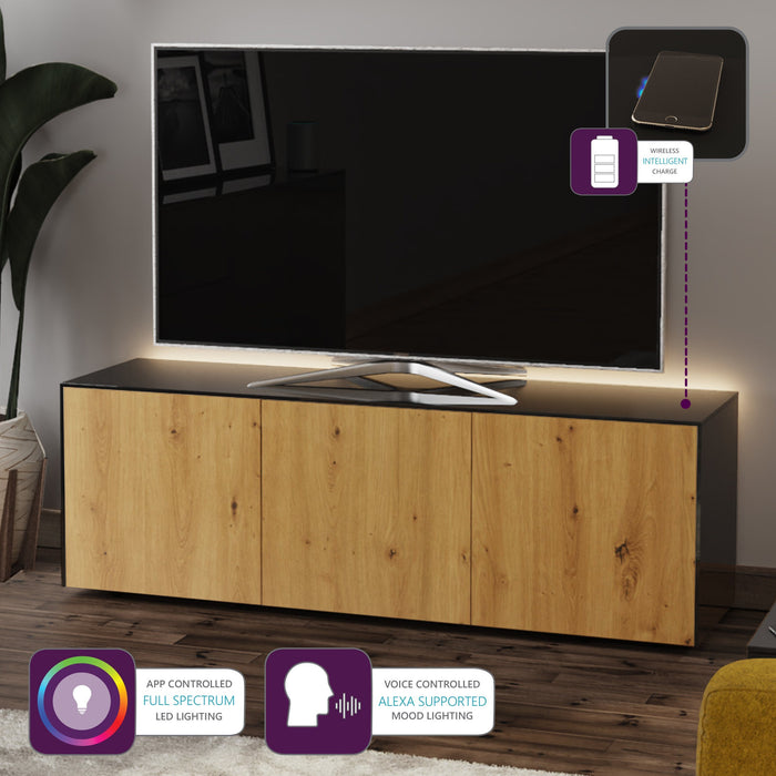 Frank Olsen High Gloss Black And Oak 1500mm TV Cabinet With LED Lighting and Wireless Phone Charging
