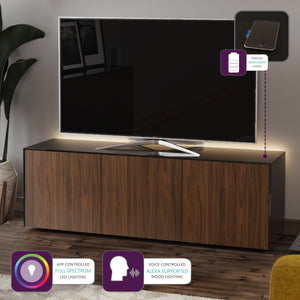 Frank Olsen High Gloss Black and Walnut 1500mm TV Cabinet with LED Lighting and Wireless Phone Charging