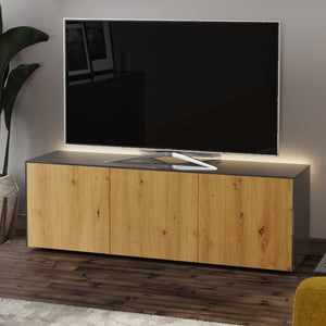 Frank Olsen Oak and High Gloss Grey 1500mm TV Cabinet with LED Lighting and Wireless Phone Charging