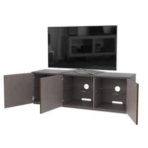 Frank Olsen High Gloss Grey and Walnut 1500mm TV Cabinet with LED Lighting and Wireless Phone Charging
