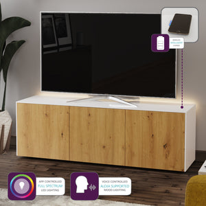 Frank Olsen High Gloss White and Oak 1500mm TV Cabinet with LED Lighting and Wireless Phone Charging
