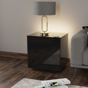 Frank Olsen High Gloss Black Lamp Table with LED Lighting and Wireless Phone Charging