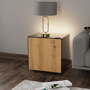 Frank Olsen IntelliLamp High Gloss Black And Oak Lamp Table With LED Lighting and Wireless Phone Charging
