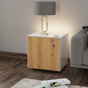 Frank Olsen IntelliLamp High Gloss White And Oak Lamp Table With LED Lighting and Wireless Phone Charging