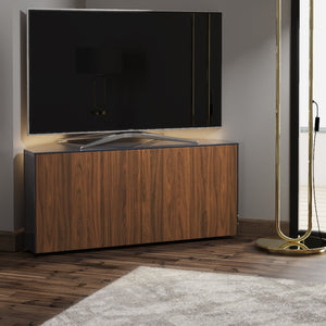 Frank Olsen High Gloss Black and Walnut 1100mm Corner TV Cabinet with LED Lighting and Wireless Phone Charging