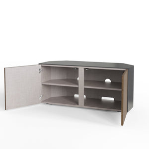 Frank Olsen High Gloss Grey and Walnut 1100mm Corner TV Cabinet with LED Lighting and Wireless Phone Charging