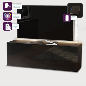 Frank Olsen High Gloss Black 1500mm TV Cabinet with LED Lighting and Wireless Phone Charging