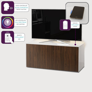 Frank Olsen High Gloss White and Walnut 1100mm TV Cabinet with LED Lighting and Wireless Phone Charging