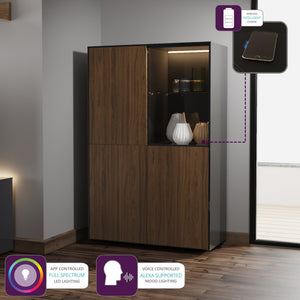 Frank Olsen Intel Range Gloss Black and Walnut Display Cabinet With LED Lighting and Wireless Phone Charging
