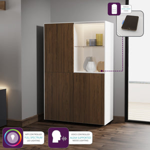 Frank Olsen Intel Range Gloss White and Walnut Display Cabinet With LED Lighting and Wireless Phone Charging