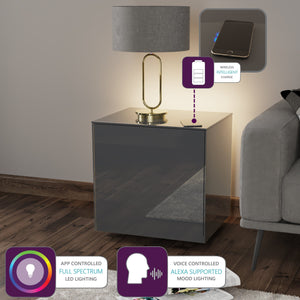Frank Olsen High Gloss Grey Lamp Table with LED Lighting and Wireless Phone Charging