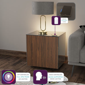Frank Olsen High Gloss Grey and Walnut Lamp Table with LED Lighting and Wireless Phone Charging