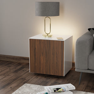 Frank Olsen High Gloss White and Walnut Lamp Table with LED Lighting and Wireless Phone Charging